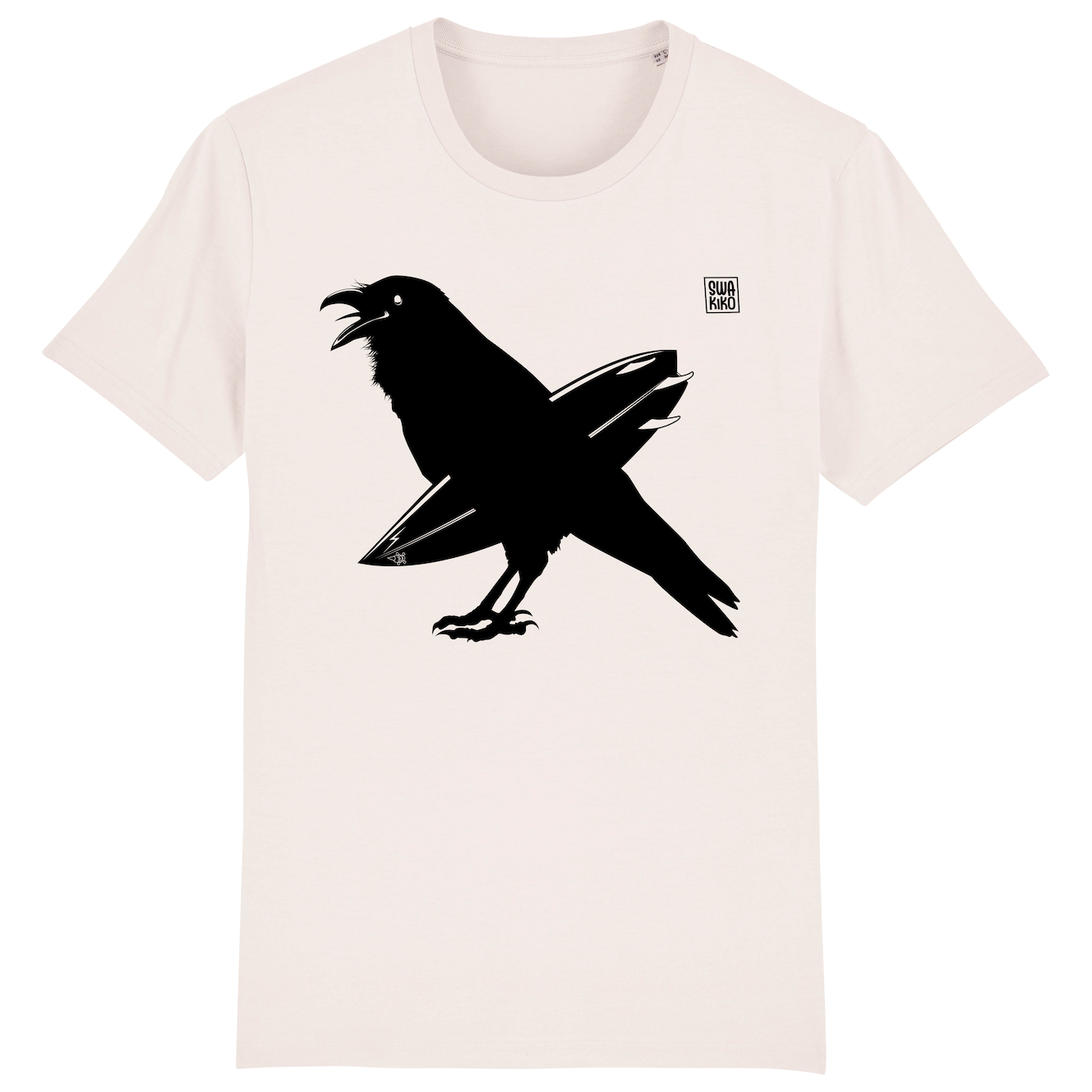 Surf t-shirt men white, The Snaking Crow