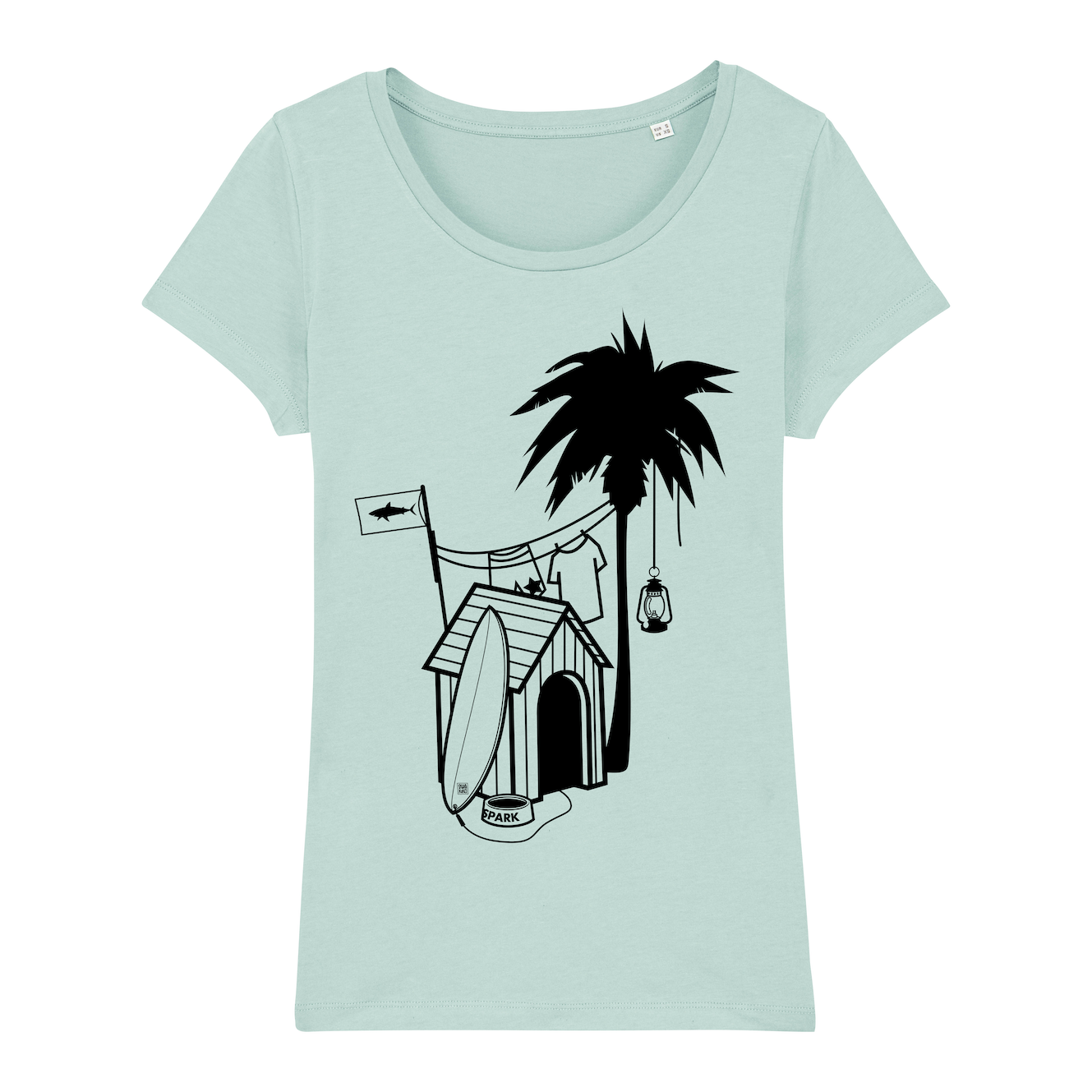 Surf T-shirt, doghouse palm tree, women, caribbean blue