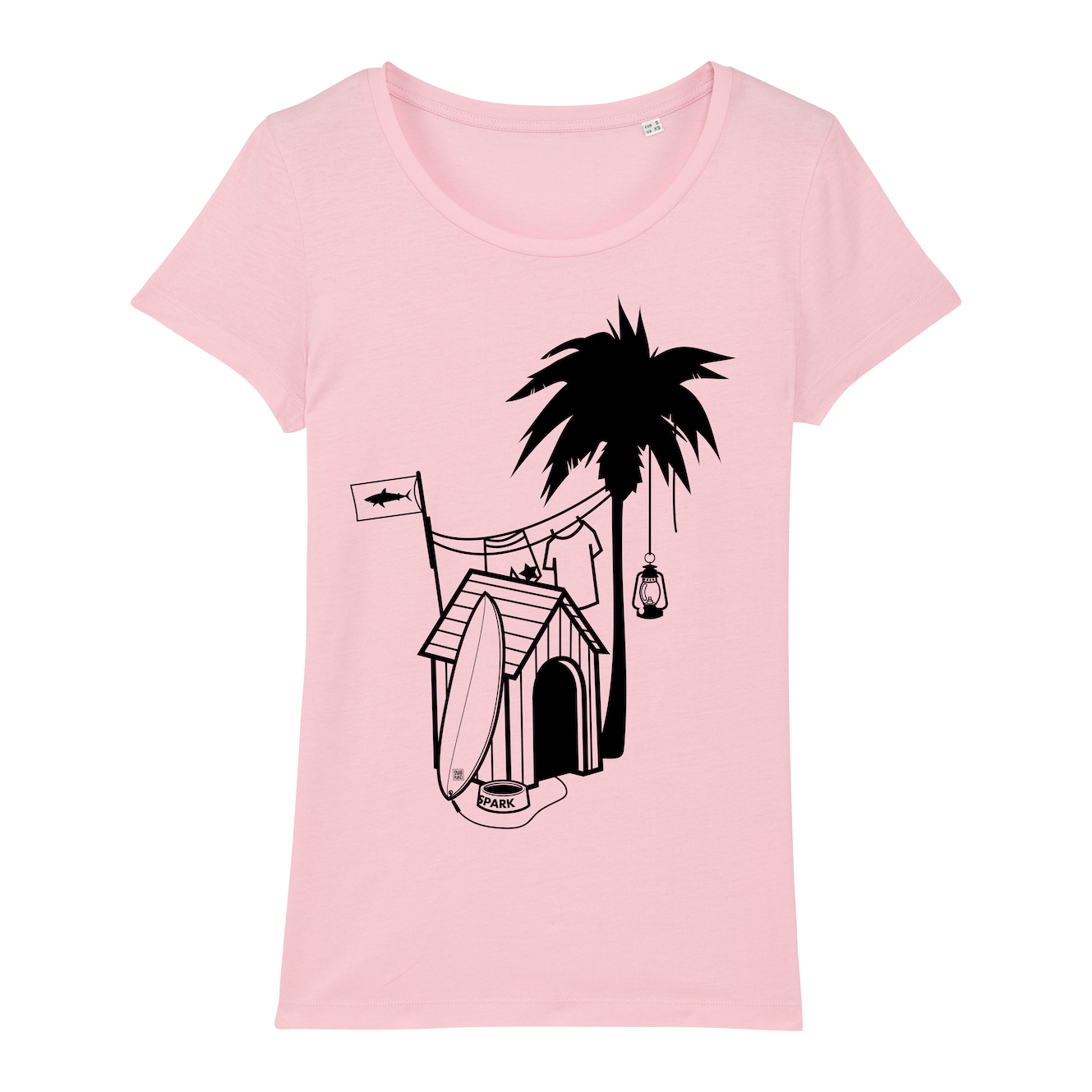 Surf T-shirt, doghouse palm tree, women, pink