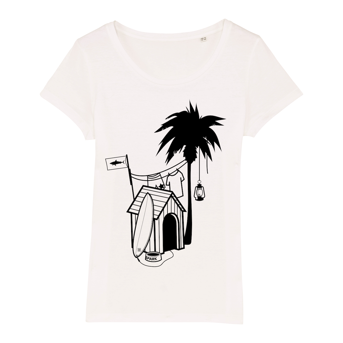 Surf T-shirt, doghouse palm tree, women, white