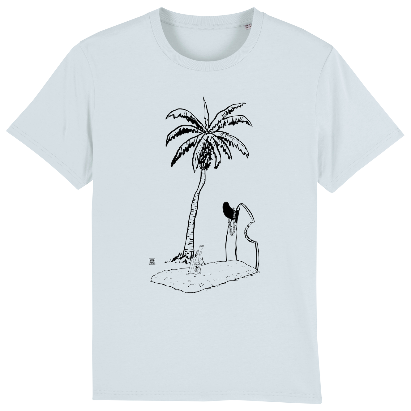 Surf t-shirt men blue, Grave with Palmtree