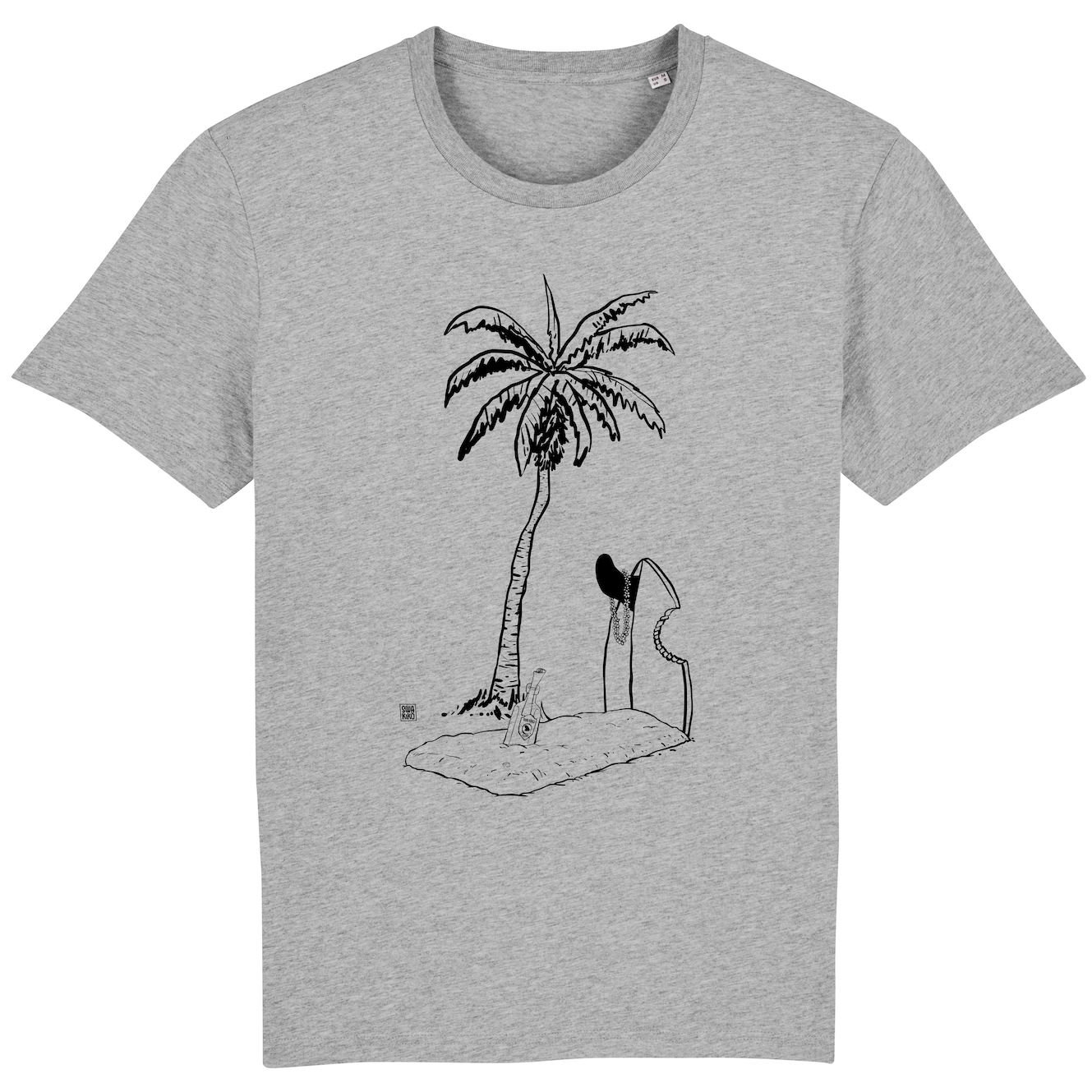 Surf t-shirt men grey, Grave with Palmtree