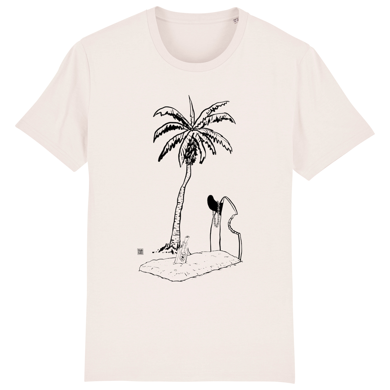 Surf t-shirt men white, Grave with Palmtree