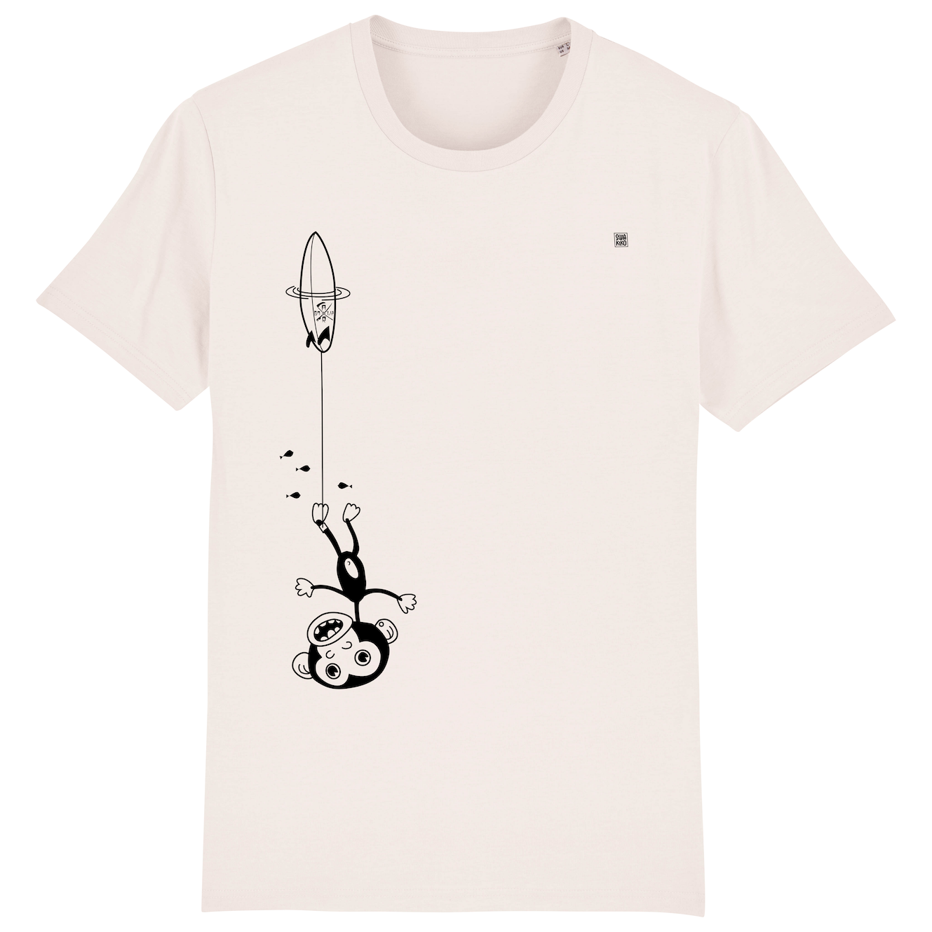 Surf t-shirt men white, Kook Downunder