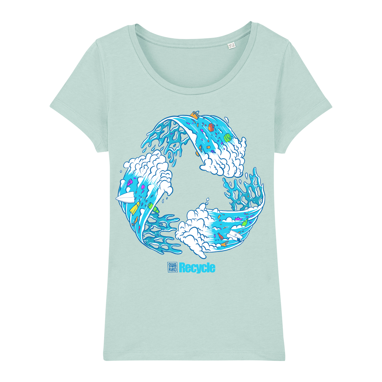 Surf t-shirt women caribbean blue, Recycle