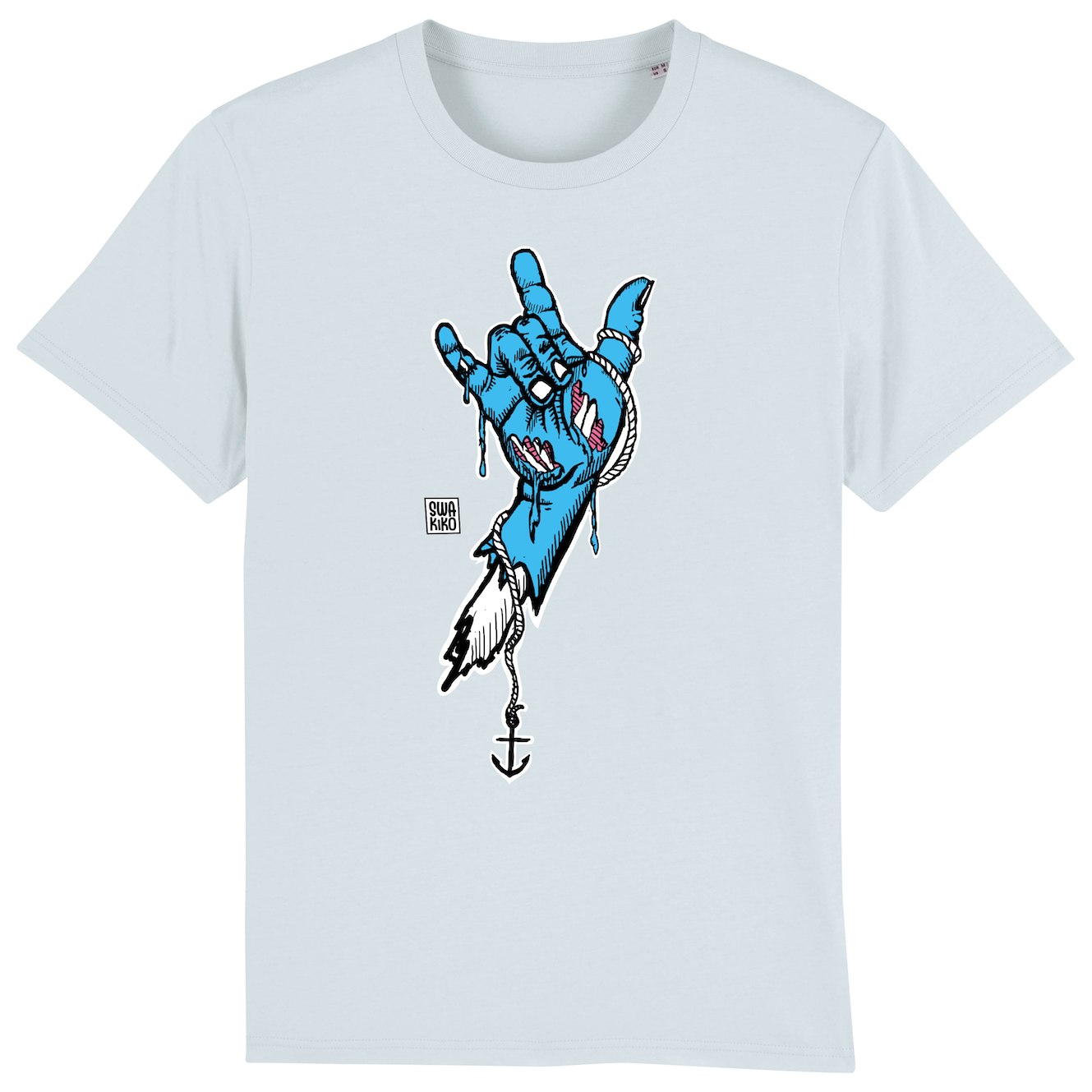 Surf t-shirt men blue, rock hand blue