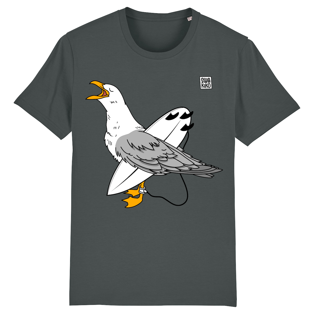 Surf T-shirt Seagull , men, anthracite