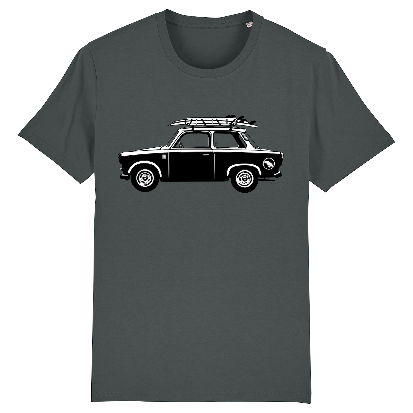 Surf t-shirt men anthracite, Car with surfboard
