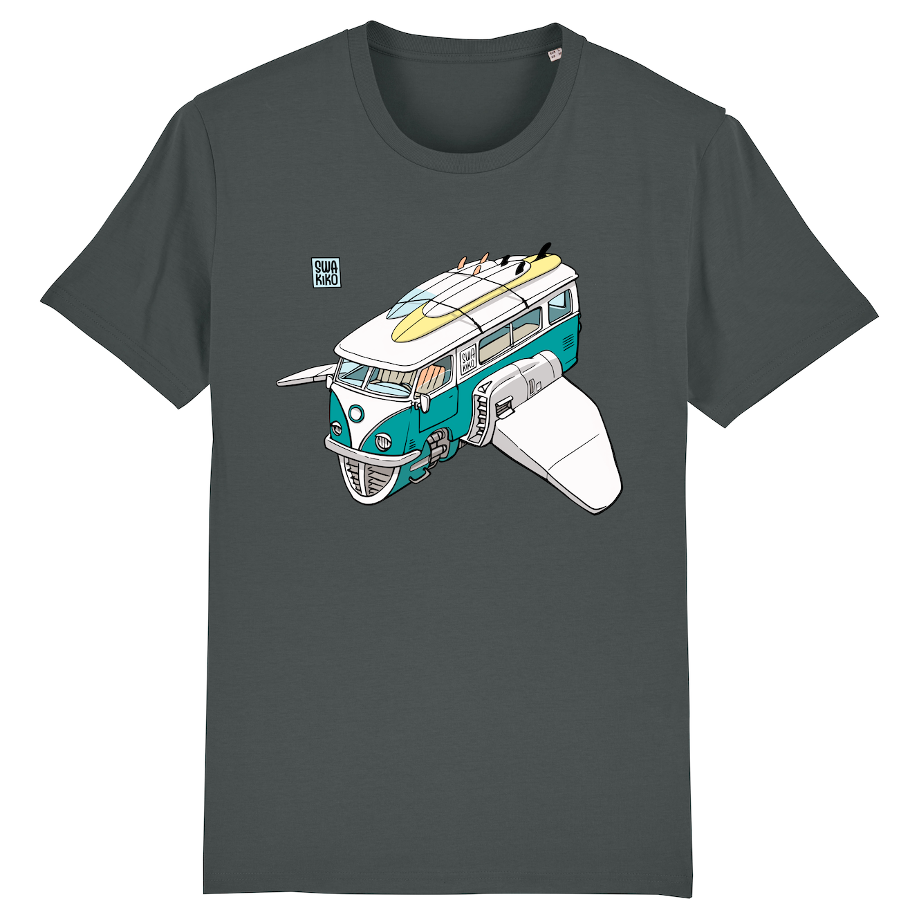 Surf T-shirt, volkswagon van, anthracite men .png