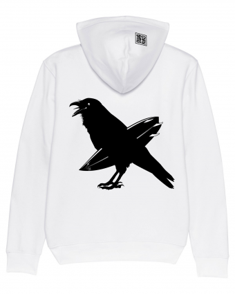 Hoodie Ripping Crow, white