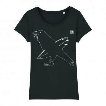Surf T-shirt, surfing crow, women, black
