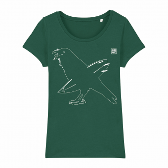Surf T-shirt, surfing crow, women, green