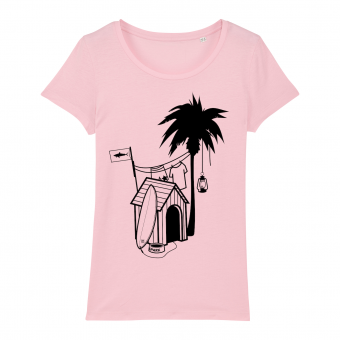 Surf T-shirt women, doghouse palm tree