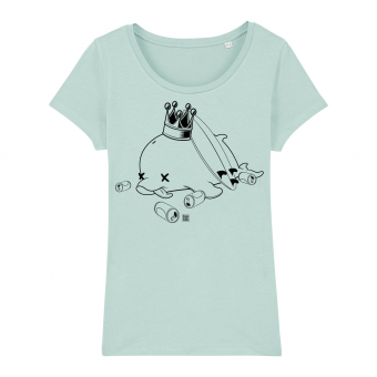 Surf t-shirt women, drunk dolphin, caribbean blue