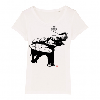 Surf t-shirt women, elephant, white