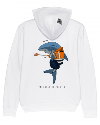 Surf Hoodie Cleaning Shark, white