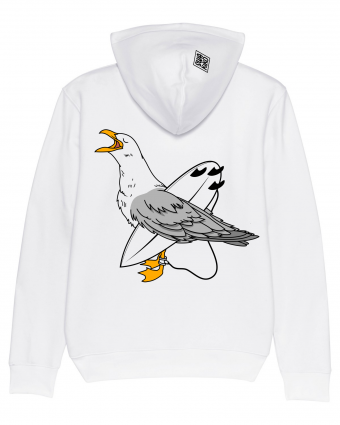 Surf Hoodie Surfing Seagull, white