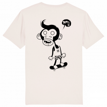 Skate T-shirt Monkey, vintage white men