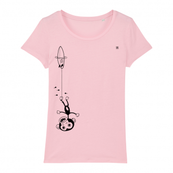 Surf t-shirt women, kook downunder, pink