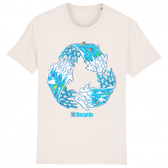 Surf t-shirt men white, Recycle