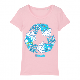 Surf t-shirt women pink, Recycle