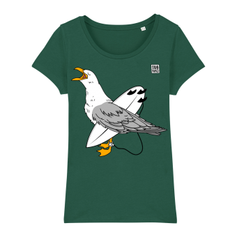 Surf t-shirt women green, Wahine Seagull