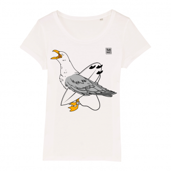 Surf t-shirt women white, Seagulll