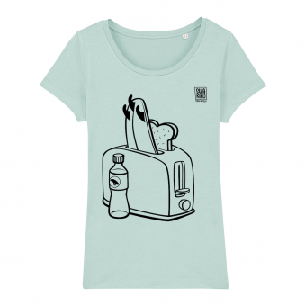 Surf t-shirt women, toaster, caribbean blue
