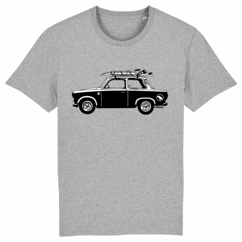 Surf t-shirt men grey, Car with surfboard