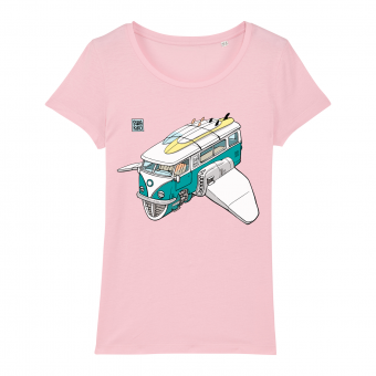 Surf t-shirt women pink, Volkswagon Surfship