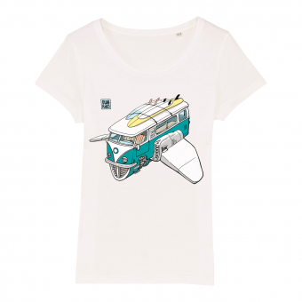 Surf t-shirt women white, Volkswagon Surfship